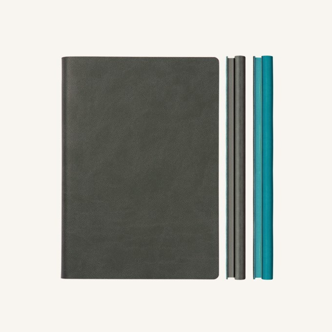 Signature Duo Lined / Dotted Notebook – A5,  Grey / Blue