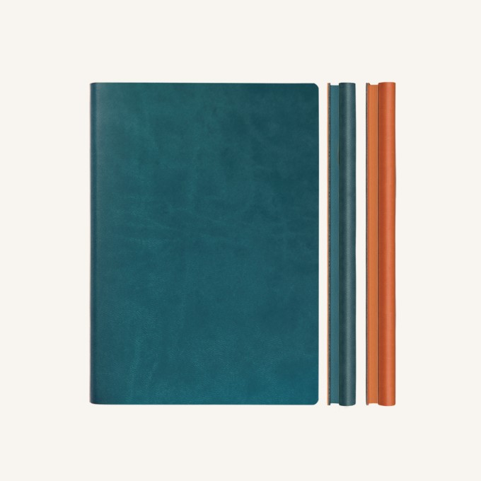 Signature Duo Lined / Dotted Notebook – A5,  Green / Orange