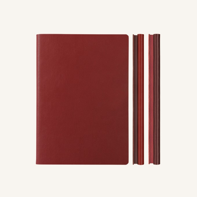 Signature Duo Lined / Dotted Notebook – A5,  Red / Burgundy
