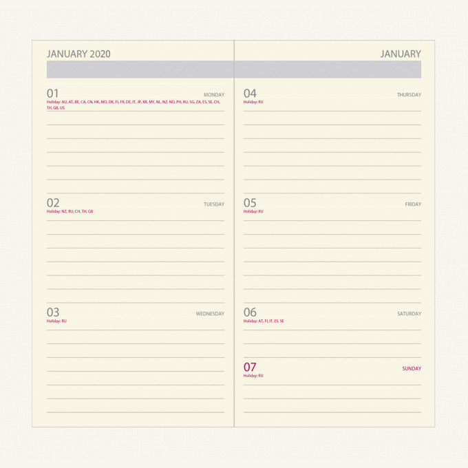 2020 Signature Diary – Pocket, Grey, English version