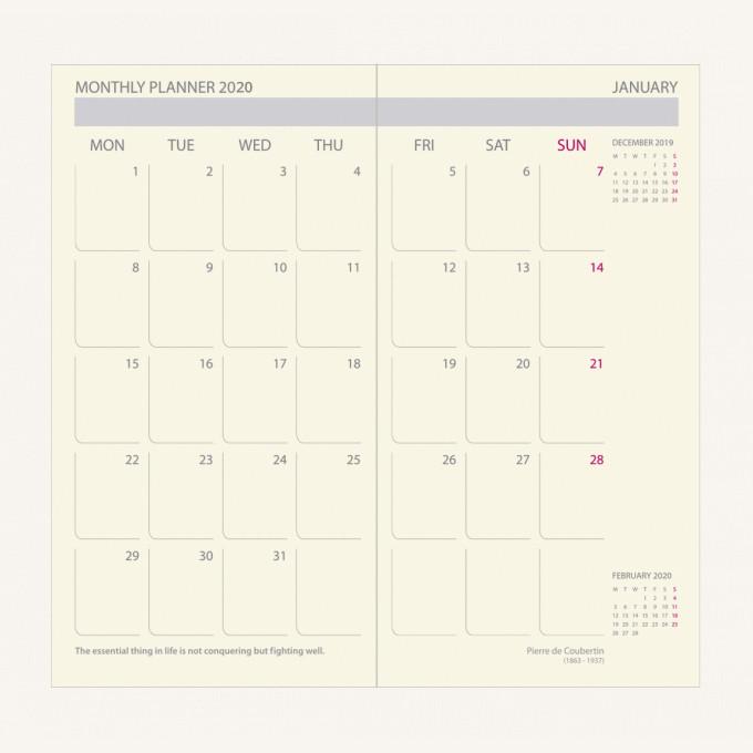 2020 行政系列日記 – 袋裝, 黑色, 英文版