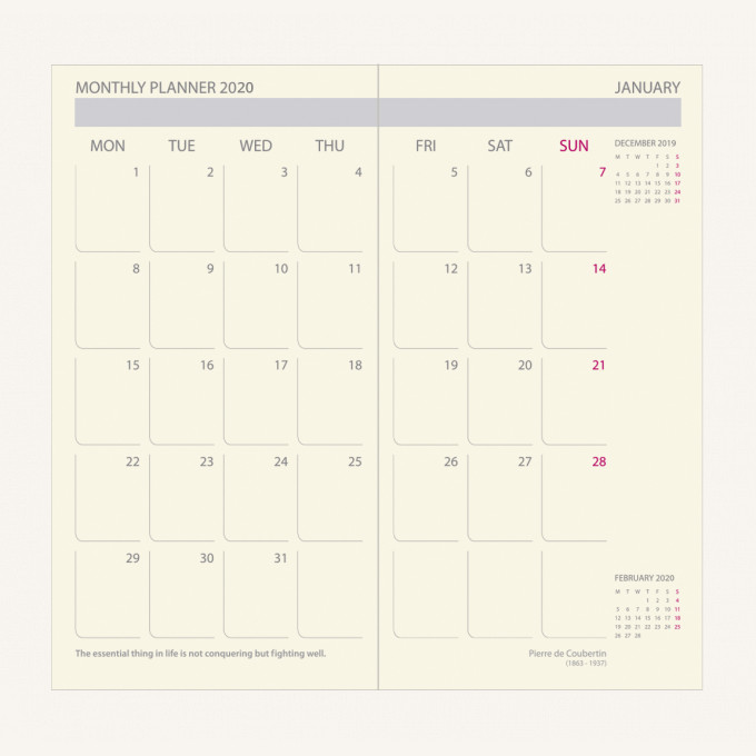 2020 行政系列日記 – 袋裝, 綠色, 英文版