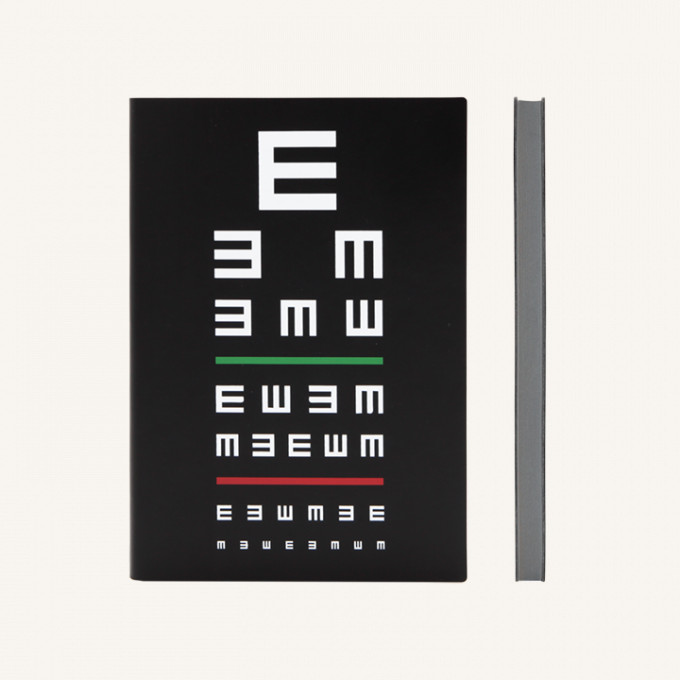 Signature Eye Chart Grid Notebook - A5, Black