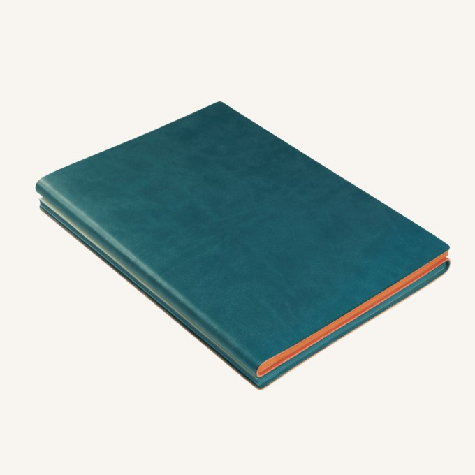 Signature Duo Notebook A Green Orange on Lined Paper Layout