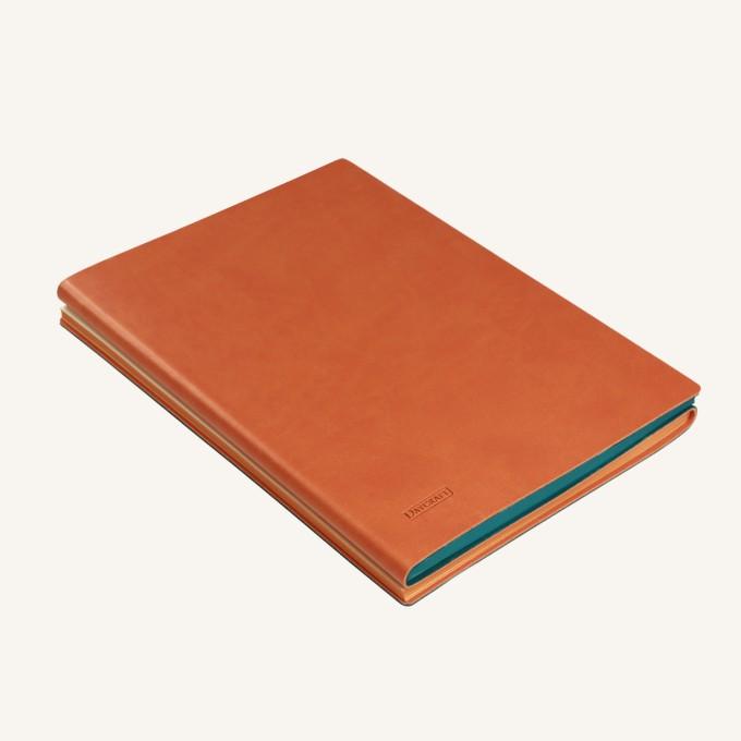 旗艦二重奏系列橫線/點格本 – A5, 綠/橙色