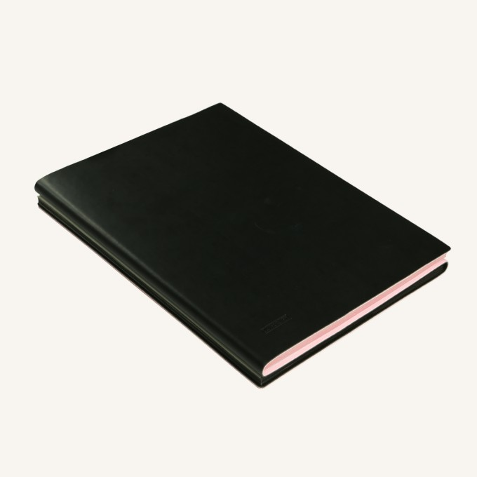Signature Duo Lined / Dotted Notebook – A5,  Pink / Black