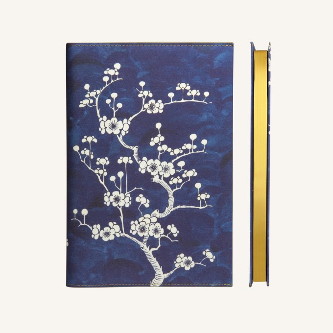 Flower Wow Lined Notebook – A5, Ceramic Blue